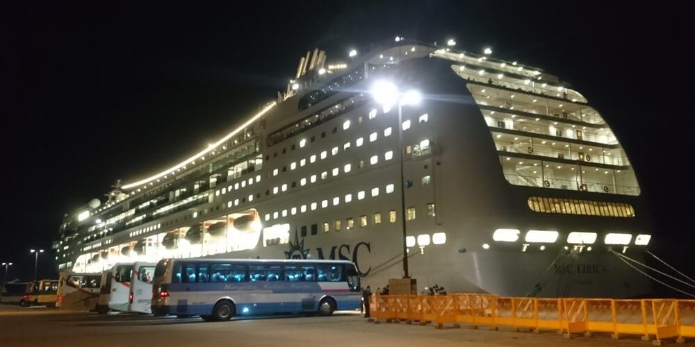 鹿児島に寄港した豪華客船(クルーズ客船) MSC LIRICA